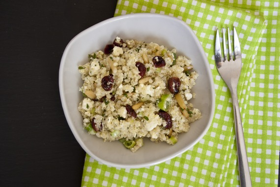 Quinoa salad with dried cranberries, pine nuts, and feta