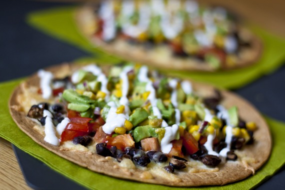 Black Bean Tostada with Avocado Corn Relish