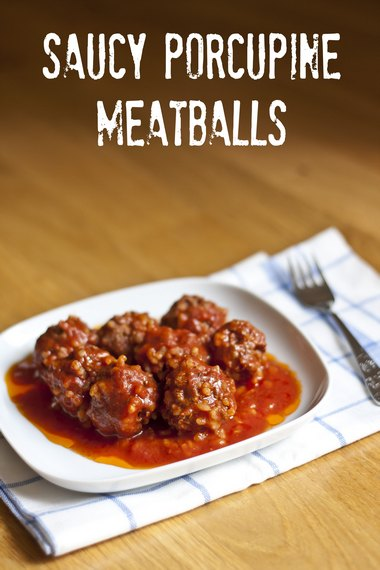 Meatballs filled with brown rice and topped with a tangy tomato sauce from mylittlegourmet.com