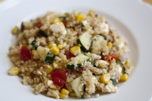 Lemony Vegetable Quinoa Skillet with Feta Cheese