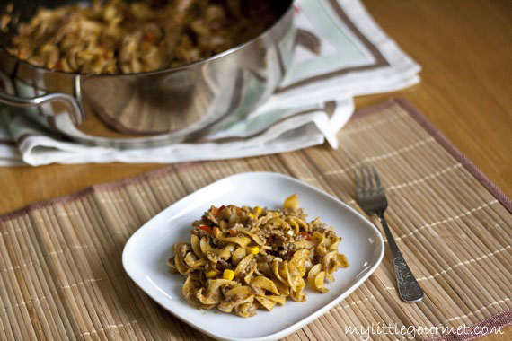 This twist on beef stroganoff is incredibly easy to make and so cheesy and delicious! from mylittlegourmet.com
